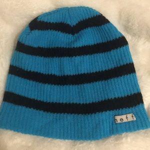Neff blue and black beanie
